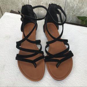 Strappy velvet sandals